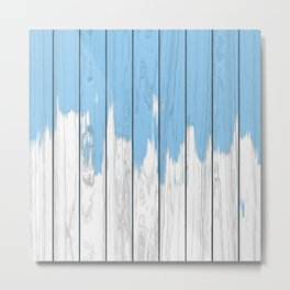 Paint blue on wood Metal Print