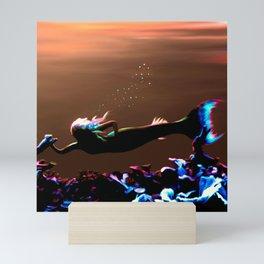 Mermaid - Neon Sunset Mini Art Print