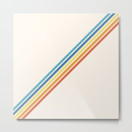 Multicolor Minimal Retro Stripes - Barong Metal Print