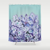 hydrangea Shower Curtains featuring Hydrangea by Fun Stuff