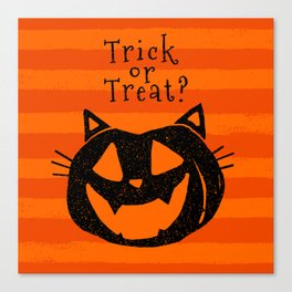 Trick or Treat? Halloween cat lady Canvas Print
