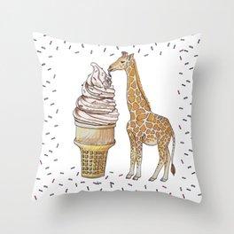 Ice Cream for a Giraffe Throw Pillow