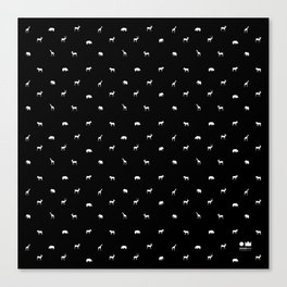 SMALL ANIMALS PATTERN in black and white Canvas Print
