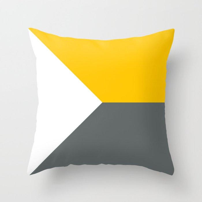 Yellow Grey White Abstract Geometric Art Throw Pillow