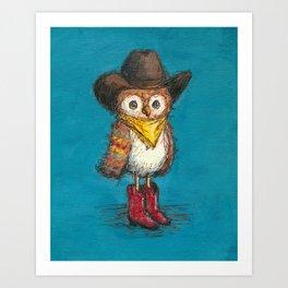 Cowboy Owl Art Print