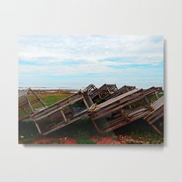 Lobster Traps and the Sea Metal Print