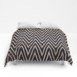 Navy Gold Chevron Pattern Comforters