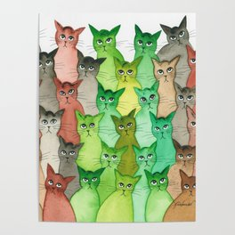 Scio Many Whimsical Cats Poster