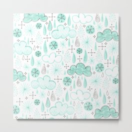 misty blue pattern with raindrops and clouds Metal Print
