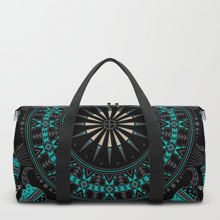 Buffalo Skull and Feathers (Aqua) Duffle Bag