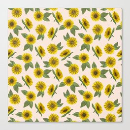 Sunflower Watercolor Pattern Canvas Print