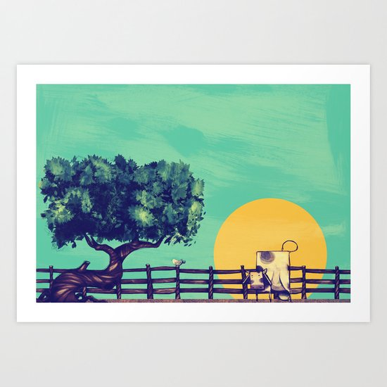 Cow Sunset Art Print