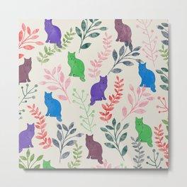 Watercolor Floral and Cat IX Metal Print
