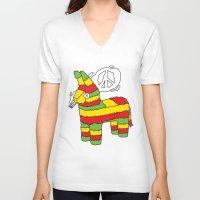 rasta V-neck T-shirts featuring Rasta pinata by Dmitriylo