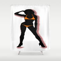 bikini Shower Curtains featuring BIKINI by Trokola