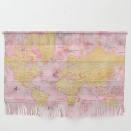 Gold and pink marble world map Wall Hanging