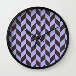 Charcoal black and pastel blue chevron pattern Wall Clock