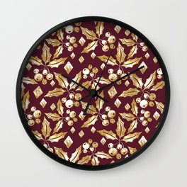 Christmas pattern.Gold sprigs on a dark Burgundy background. Wall Clock