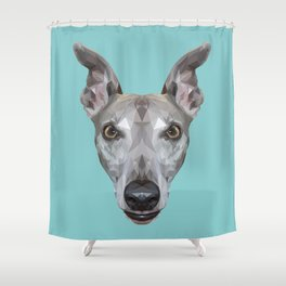 Whippet // Blue (Vespa) Shower Curtain