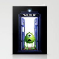 monster inc Stationery Cards featuring Tardis Monster inc by DavinciArt