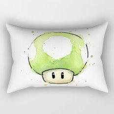 1UP Green Mushroom Painting Mario Gaming Geek Videogame Art Rectangular Pillow