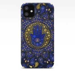 Hamsa Hand -Hand of Fatima Dot Art Lapis Lazuli and gold iPhone Case