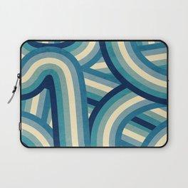 Vintage Faded 70's Style Blue Rainbow Stripes Laptop Sleeve
