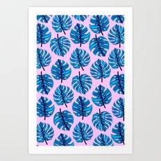 Blue monestera leaves pattern on pink background Art Print