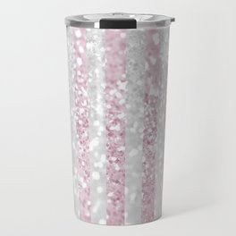 Elegant pink white faux glitter stripes pattern  Travel Mug