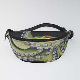 Green Octopus Tentacles Dance Black Watercolor Ink Fanny Pack