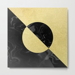 Gold Glitter on Black Marble. Metal Print