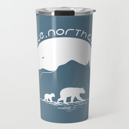Asheville - Mountains & Black Bears - AVL 11 White on Greyblue Travel Mug