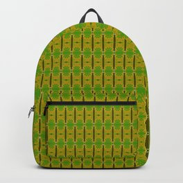 Heliconia Green Gold Stalks Pattern Backpack