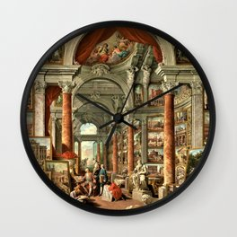 Giovanni Paolo Pannini 19th Century Masterpiece: Picture Gallery with Views of Modern Rome Wall Clock