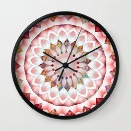 Flower Patchwork Kaleidoscope Pink Wall Clock