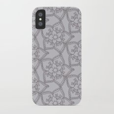 Silver gray lacey floral 2 iPhone X Slim Case
