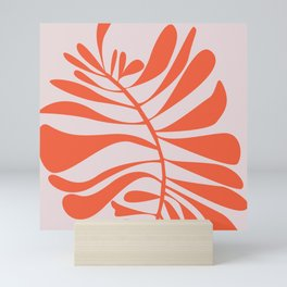 Blush Pink Red Tropical Leaf Mini Art Print