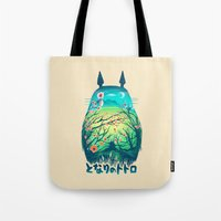 miyazaki Tote Bags featuring He Is My Neighbor by Victor Vercesi