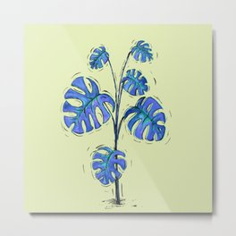 Monstera deliciosa blue version Metal Print