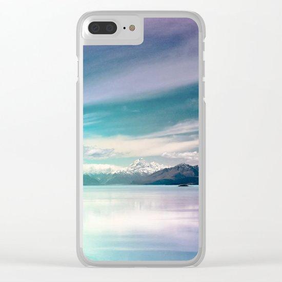 Peaceful Blue Lake Pukaki, New Zealand Clear iPhone Case