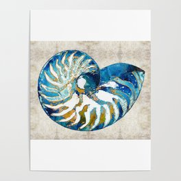Beachy Art - Nautilus Shell Bleu - Sharon Cummings Poster