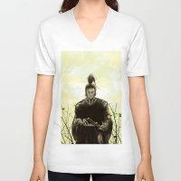 samurai V-neck T-shirts featuring Samurai by Tony Vazquez
