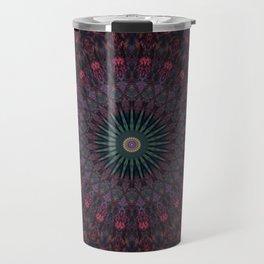 Mandala in dark red and brown tones Travel Mug