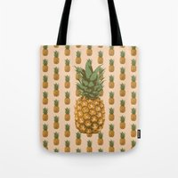 pineapples Tote Bags featuring Pineapples by Brocoli ArtPrint