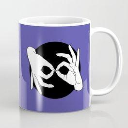 Sign Language (ASL) Interpreter – White on Black 02 Coffee Mug