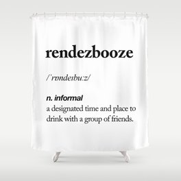 Rendezbooze black and white contemporary minimalism typography design home wall decor bedroom Shower Curtain