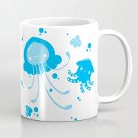 dumbo Mugs featuring Kawaii Pastellyfish Jellyfish and Dumbo Octopus by KawaiiMachine