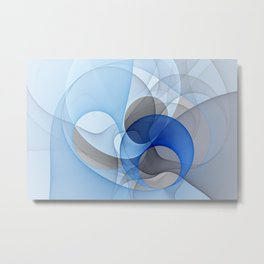 Abstract with Shades of Blue Metal Print