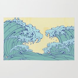 Waves in Japanese style Rug