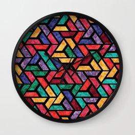Seamless Colorful Geometric Pattern IX Wall Clock